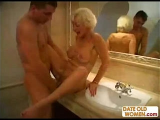 Blonde grandmom gets facial cream