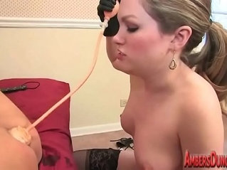 young dominatrix in charge of old slave