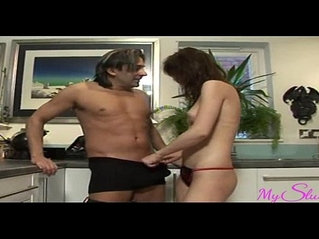 Horny niece gets her uncles cock in the kitchen
