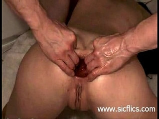 Young amateur slut gets a brutal anal fisting in her destroyed anus