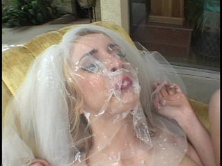 Sexy looking bride gang-banged by 5 hard cocks